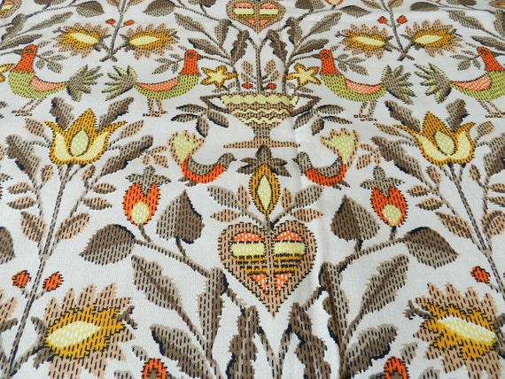 Vintage Rooster Turkey Fall Theme Cotton Fabric Medium Weight for Home Decor 1.5 yards