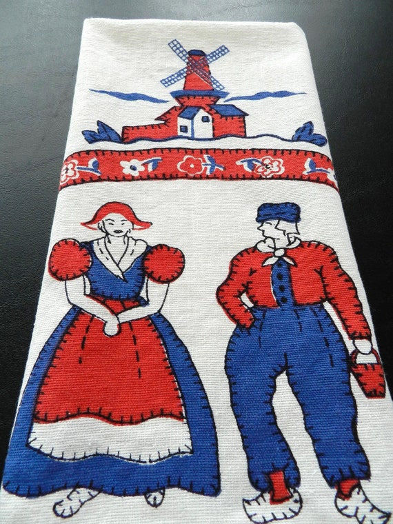 Vintage 1950s 1960s Dutch Couple Tulips Windmills Linen Tea Towel Red Blue and White