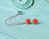 Dark Blush Rose Bloom Ear Cuff