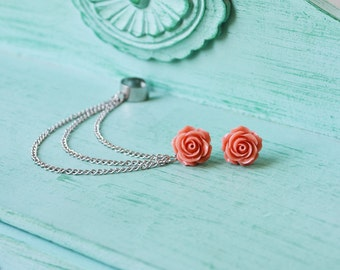Dark Blush Rose Bloom Ear Cuff