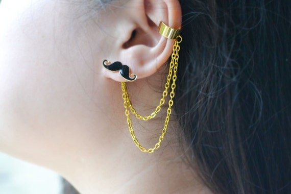 Mustache Chain Ear Cuff and Ring Set