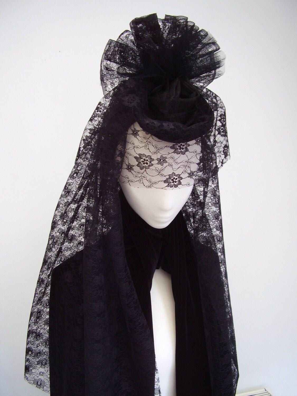 Black Widow Gothic Victorian Headpiece Veiled By Blackpin