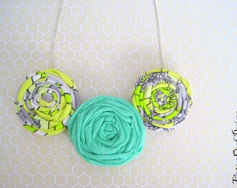 Rosette Statement Necklace, Rosette Necklace, Rosette Bib Necklace, Rosette Jewelry,Mint & Yellow Rosette Necklace, Fabric Jewelry, Handmade