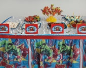 The AVENGERS  Birthday Boy Partysweet Tent food Activities table labels Printable Captain america hulk thor Iron man