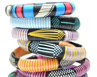 Bangles: Woven African bracelets, bangle set, friendship bracelets