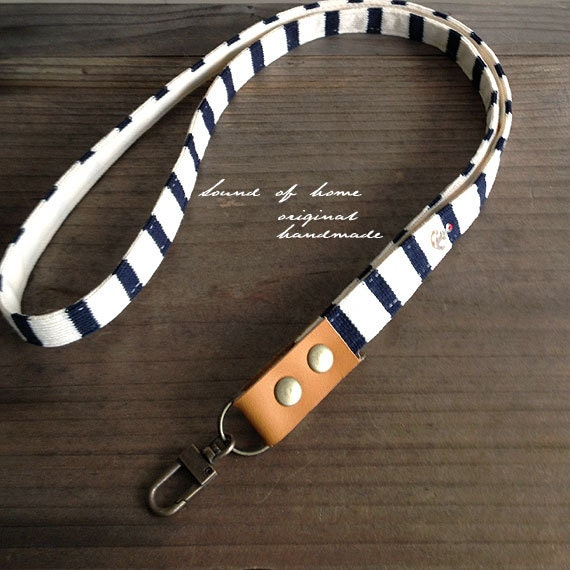 Nautical anchor unisex leather keychain key holder lanyard gift idea Japan zakka