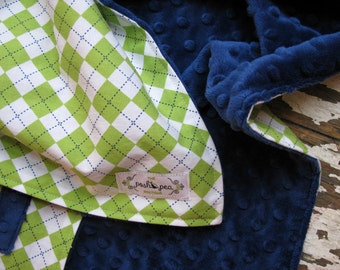 Baby Blanket - Baby Boy - Minky OR Chenille - Lime Green & Navy Argyle Remix