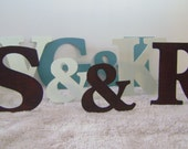 "Letters and Ampersand, Set of 3 - two ten inch metal letters and a 7"" Ampersand, Made to stand alone OR to hang, Rusty finish or Painted"
