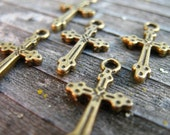 10 Antiqued Bronze Cross Charms 21mm