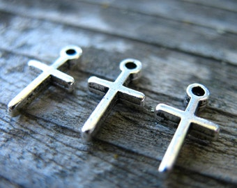 25 Silver Cross Charms  12mm Antiqued Silver