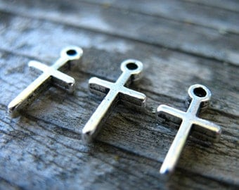 12 Antiqued Silver Tiny Cross Charms 12mm