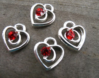 10 Silver Heart Charms with Red Crystal 13mm