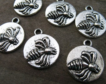 8 Silver Bee Charms 18mm Round Bee Charms Antiqued Silver