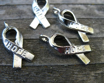 20 Silver Awareness Ribbon Charms 19mm Hope Charms