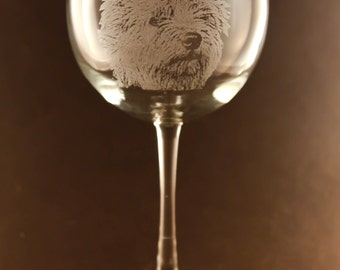 Etched Norwich Terrier on Elegant Wine Glass (set of 2)