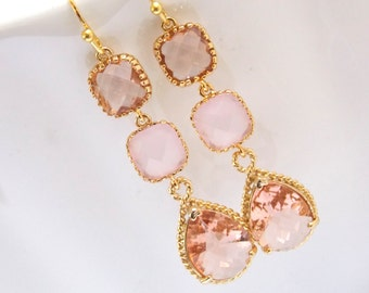 Gold Peach Earrings, Pink Earrings, Champagne Earrings, Glass, Bridesmaid Jewelry, Wedding Jewelry, Bridesmaid Earrings, Bridesmaid Gifts