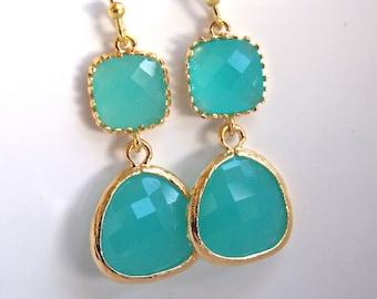 Glass Earrings, Mint Earrings, Gold Blue Earrings, Mint Blue, Aqua Blue, Weddings, Bridesmaid Earrings, Bridal Earrings, Bridesmaid Gifts