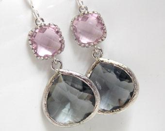Silver Gray Earrings, Pink Earrings, Grey Earrings, Rose, Charcoal, Wedding Jewelry, Bridesmaid Earrings, Bridal Jewelry, Bridesmaid Gifts