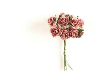 "1/2"" Mauve Paper Roses (10 blooms)"