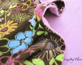 PackNPlay Sheet Blanket Set Handmade Fleece Bedding Set for Babies 'Wildflowers' Print