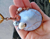 SHELL Pale corn flower blue limpet shell pendant wire wrapped in copper wire unique one off peice fresh water pearls