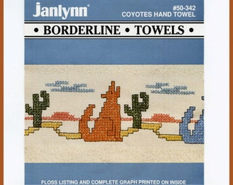 Cross Stitch Kit for Southwest Coyotes Hand Towels - Towels Included