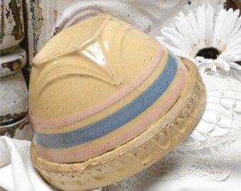 USA Crock Bowl Blue Pink Banded 7 Inch