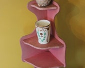 Vintage Pink Shabby Chic Wall Shelf, Original cracked pink paint, Stand or hang