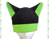 Anime Kitty Hat Black Green - Fleece Lime Clothing Warm Rave Lolita Goth Punk Emo Animal Cute Kawaii Cosplay Cat Neko Ears
