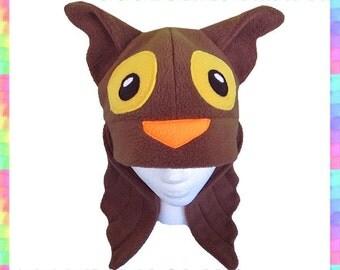 Brown Owl Hat w/ Wings - Fleece Gold Anti Pill Anime Animal Cosplay Ears Wings Cute Warm Beanie Bird Adult Teen Child Sizes