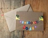 Welsh Penblwydd Hapus Birthday Birds Eco Friendly Art Greeting Card