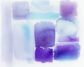 8 x10 print of an original abstract aqua, white, lavendar and purple watercolor whimsical bohemian modern vintage style