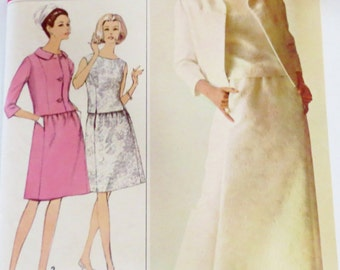 1960s Dress Suit with Jacket Pattern Formal or Day Designer Fashion-Bust 32-Simplicity 6217 UNCUT