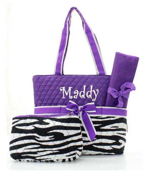 Personalized Zebra and Purple Diaper Bag Set