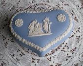 Wedgwood Blue Jasper Ware Heart Shaped Trinket Box