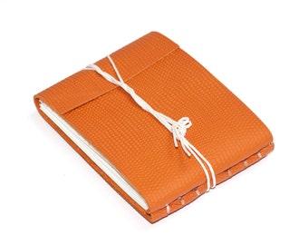 "Leather Journal or Leather Sketchbook, Orange, Pocket Sized, Handbound Coptic Stitch - 2 3/4"" x 3 3/4"""