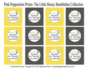 NEW INSTANT DOWNLOAD Printable Party CIrcles- The Little Honey Happy Birthday Collection 2 inch thank you favor tags