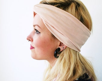 Baby pink headband with little shine, stretch turban twist headband, pastel pink shade