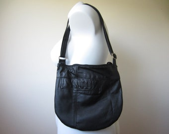 black leather crossbody purse , repurposed and eco-friendly , handmade with round bottom and adjustable strap