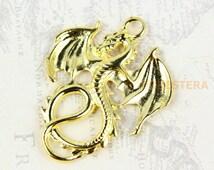 5Pcs Gold Dragon Charm Dragon Pendant 34x27mm (PND186)