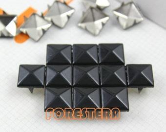 100Pcs 12mm Black Color PYRAMID Studs (C-BL12)