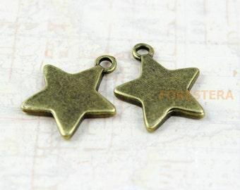 15Pcs Antique Brass Star Charm Star Pendant 16mm (PND154)