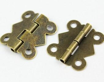20Pcs Antique Brass Hinge Small Hinge Box Hinge 17x20mm (HINGE05)
