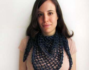 Navy blue shawl - crochet lacy shawl in egyptian cotton