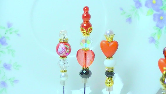 3  Valentine Day stick Stick Pins  Lovely Hearts Scrapbooking   Hat pin    Hijab pin    New