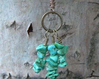 Triple ... howlite necklace pendant long blue green turquoise native american shaman healing earth