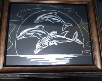 Dolphins Scratch Art