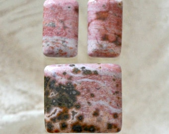 Pink Ocean Jasper square cabochon set.  Handcut.  Pendant and earring cabochons
