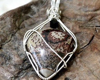 "Wire wrapped picture jasper pendant.  Painted Desert stone in Sterling Silver.  ""Nebula"""