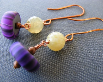 Lime Faceted Fire Agate Purple Gypsy Beads and Copper Dangle Earrings:  Peel Me A Grape Earrings